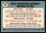 2014 Topps Heritage #409   -  Jorge DeLeon / Max Stassi Astros Rookies Back Thumbnail