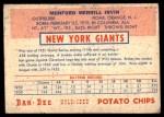 1954 Dan-Dee  Monte Irvin  Back Thumbnail
