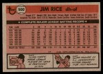 1981 Topps #500  Jim Rice  Back Thumbnail