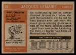 1972 Topps #25  Jacques Lemaire  Back Thumbnail