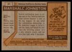 1973 Topps #21  Marshall Johnston   Back Thumbnail