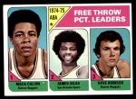 1975 Topps #224   -  Dave Robisch / Mack Calvin / James Silas Free Throw Leaders Front Thumbnail