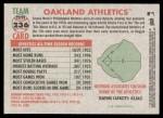 2005 Topps Heritage #236   Oakland Athletics Team Back Thumbnail