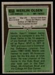 1975 Topps #525  Merlin Olsen  Back Thumbnail