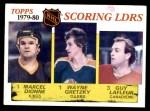 1980 Topps #163   -  Marcel Dionne / Wayne Gretzky / Guy Lafleur Scoring Leaders Front Thumbnail