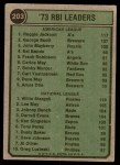 1974 Topps #203   -  Reggie Jackson / Willie Stargell RBI Leaders  Back Thumbnail