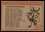 1972 Topps #172   Norris Trophy Back Thumbnail
