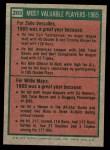 1975 Topps Mini #203   -  Willie Mays / Zoilo Versalles 1965 MVPs Back Thumbnail