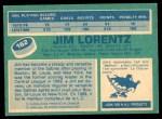 1976 O-Pee-Chee NHL #162  Jim Lorentz  Back Thumbnail