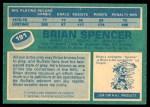 1976 O-Pee-Chee NHL #191  Brian Spencer  Back Thumbnail