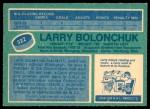 1976 O-Pee-Chee NHL #322  Larry Bolonchuk  Back Thumbnail