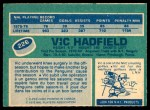 1976 O-Pee-Chee NHL #226  Vic Hadfield  Back Thumbnail