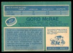 1976 O-Pee-Chee NHL #337  Gord McRae  Back Thumbnail