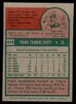 1975 Topps Mini #448  Frank Duffy  Back Thumbnail