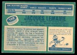 1976 O-Pee-Chee NHL #129  Jacques Lemaire  Back Thumbnail