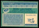 1976 O-Pee-Chee NHL #339  Ron Lalonde  Back Thumbnail