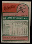 1975 Topps Mini #184  Jorge Orta  Back Thumbnail