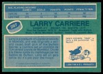 1976 O-Pee-Chee NHL #297  Larry Carriere  Back Thumbnail