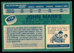 1976 O-Pee-Chee NHL #114  John Marks  Back Thumbnail