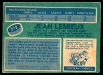 1976 O-Pee-Chee NHL #272  Jean Lemieux  Back Thumbnail