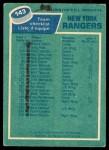 1976 O-Pee-Chee NHL #143   Rangers Team Back Thumbnail