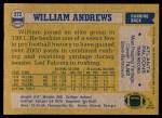 1982 Topps #272  William Andrews  Back Thumbnail
