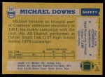 1982 Topps #313  Michael Downs  Back Thumbnail