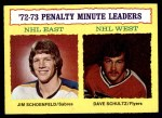 1973 Topps #5   -  Jim Schoenfeld / Dave Schultz Penalty Minute Leaders Front Thumbnail
