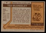 1973 Topps #37  Ted McAneeley   Back Thumbnail