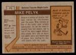 1973 Topps #71  Mike Pelyk   Back Thumbnail