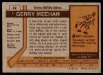 1973 Topps #22  Gerry Meehan   Back Thumbnail