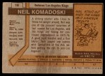 1973 Topps #16  Neil Komadoski   Back Thumbnail