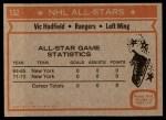 1972 Topps #132  Vic Hadfield  Back Thumbnail