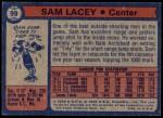 1974 Topps #99  Sam Lacey  Back Thumbnail