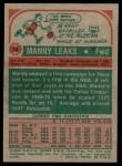 1973 Topps #74  Manny Leaks  Back Thumbnail