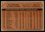 1972 Topps #13  Joe Grzenda  Back Thumbnail