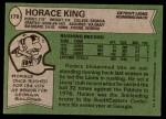 1978 Topps #178  Horace King  Back Thumbnail