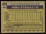 1990 Topps #14  Mike Fetters  Back Thumbnail