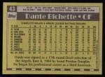 1990 Topps #43  Dante Bichette  Back Thumbnail