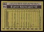 1990 Topps #270  Dave Stewart  Back Thumbnail