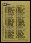 1990 Topps #646   Checklist 5 Back Thumbnail