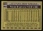 1990 Topps #710  Von Hayes  Back Thumbnail