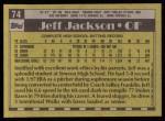 1990 Topps #74   -  Jeff Jackson #1 Draft Pick Back Thumbnail