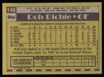 1990 Topps #146  Rob Richie  Back Thumbnail