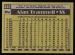 1990 Topps #440  Alan Trammell  Back Thumbnail