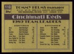 1990 Topps #110  Tommy Helms  Back Thumbnail