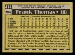 1990 Topps #414 Name Frank Thomas  Back Thumbnail