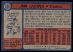 1974 Topps #258  Jim Eakins  Back Thumbnail