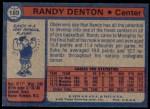 1974 Topps #189  Randy Denton  Back Thumbnail