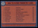 1974 Topps #210   -  James Jones / Mack Calvin / Ron Boone ABA Free Throw Leaders Back Thumbnail